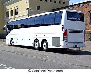 autobus, blanc, tour