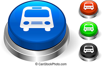 autobus, bottone, icona, internet