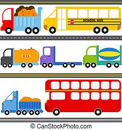 autobus, camion, véhicules, fret