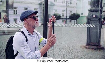 autobus, canne, personne agee, attente, blanc, aveugle, city., homme, arrêt