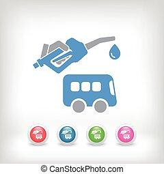 autobus, carburante, icona