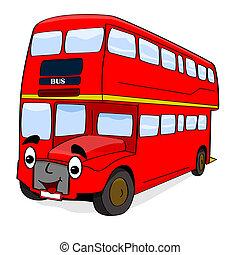 autobus, cartone animato, felice