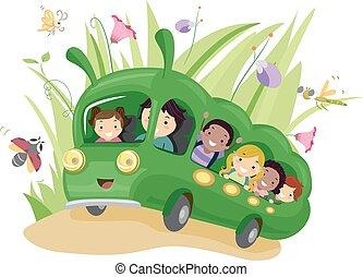 autobus, chenille, gosses, stickman, jardin