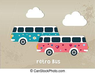 autobus, concept., retro