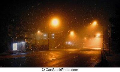autobus, conduit, passé, dans, neigeux, temps