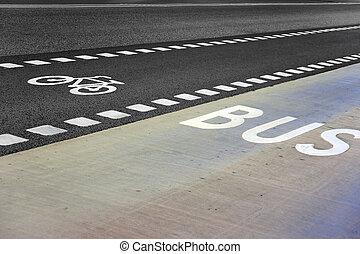 autobus, corsia, bicicletta