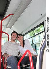 autobus, couple, jeune, séance