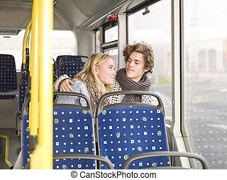 autobus, couple