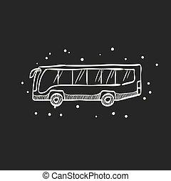 autobus, croquis, icône, -, noir