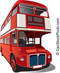 autobus, double-decker, rosso