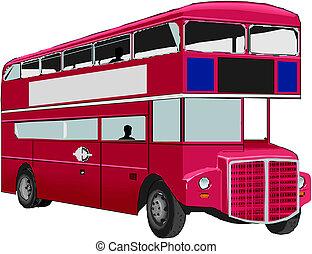 autobus, double-decker, rouges