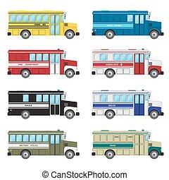 autobus, ensemble, urgence, services.
