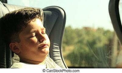 autobus, fatigué, somnolent, enfant