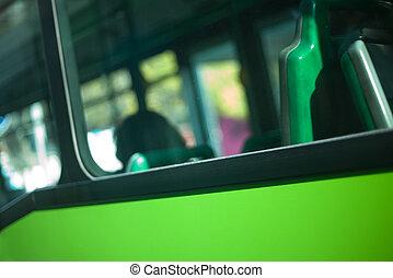 autobus, finestra, sfocato