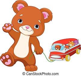autobus, giocattolo, giochi, orso, teddy