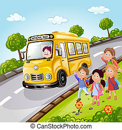 autobus, gosses école, illustration