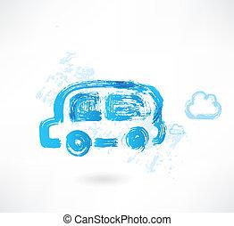 autobus, grunge, icône