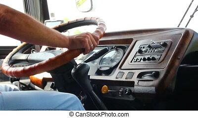 autobus, homme, conduite, main