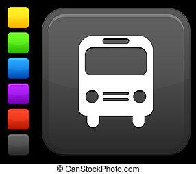 autobus, icona, su, quadrato, internet, bottone