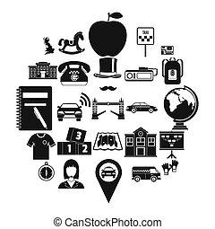 Autobus icons set, simple style