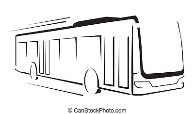 autobus, illustration, symbole, vecteur