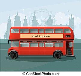 autobus, illustrazione, decker, realistico, londra, doppio