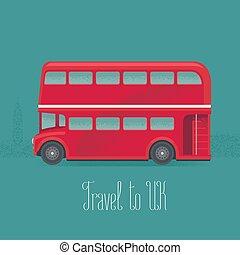 autobus, illustrazione, gran bretagna, vettore, double-decker, londra, rosso