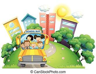 autobus, insegnante scuola, bambini