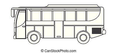 autobus, isolato, trasporto, icona