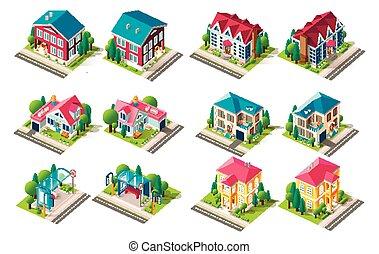 autobus, isométrique, ensemble, maison, station