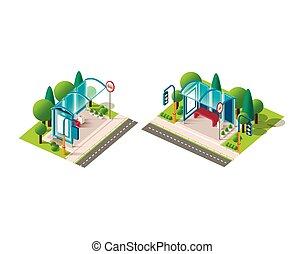 autobus, isométrique, ensemble, station