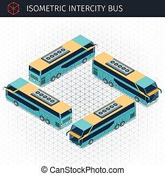 autobus, isométrique, interurbain