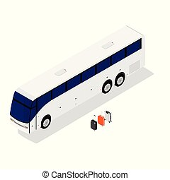 autobus, isometrico, bianco, isolato, fondo.