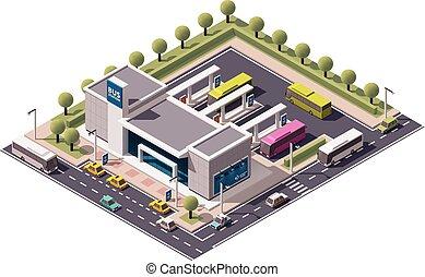 autobus, isometrico, vettore, stazione