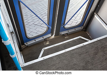 autobus, jádro, dveře, uzavřený