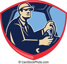 autobus, kierowca samochodu, bok, tarcza