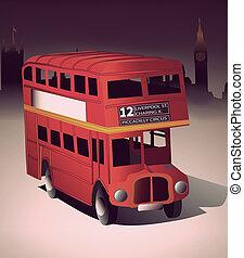 autobus, londyn, czerwony