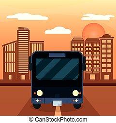 autobus, noir, coucher soleil, ville