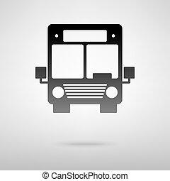 autobus, noir, icône