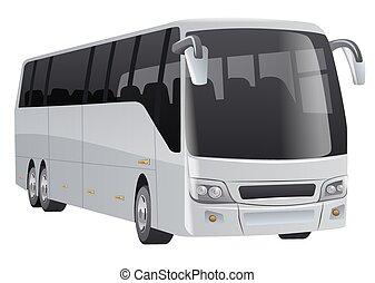 autobus, passager, ville