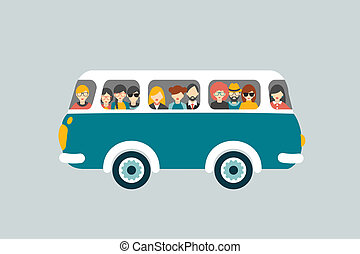 autobus, passengers., retro