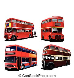 autobus piętrowy, londyn, vec, bus., czerwony