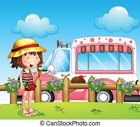 autobus, piccola ragazza, gelato