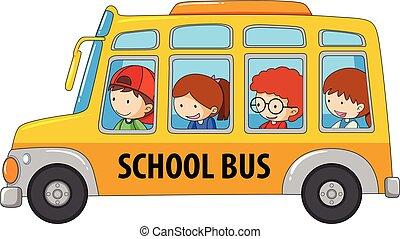 autobus, prendre, écolier