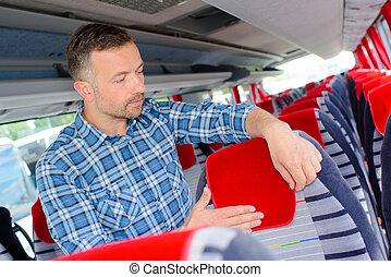 autobus, przygotowując, kabina