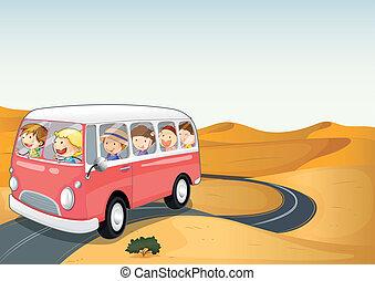 autobus, pustynia