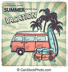 autobus, retro, illustrazione