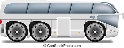 autobus, roues, dessin animé, grand