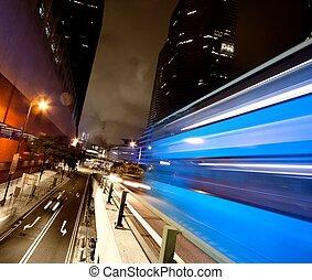 autobus, ruchomy, mocny, noc