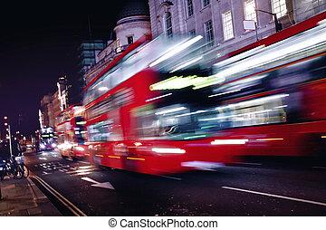 autobus, rue, londres, rouges